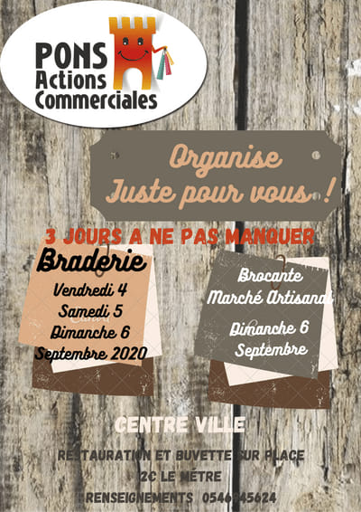 Braderie Brocante Marché artisanal septembre 2020 - Pons Actions Commerciales