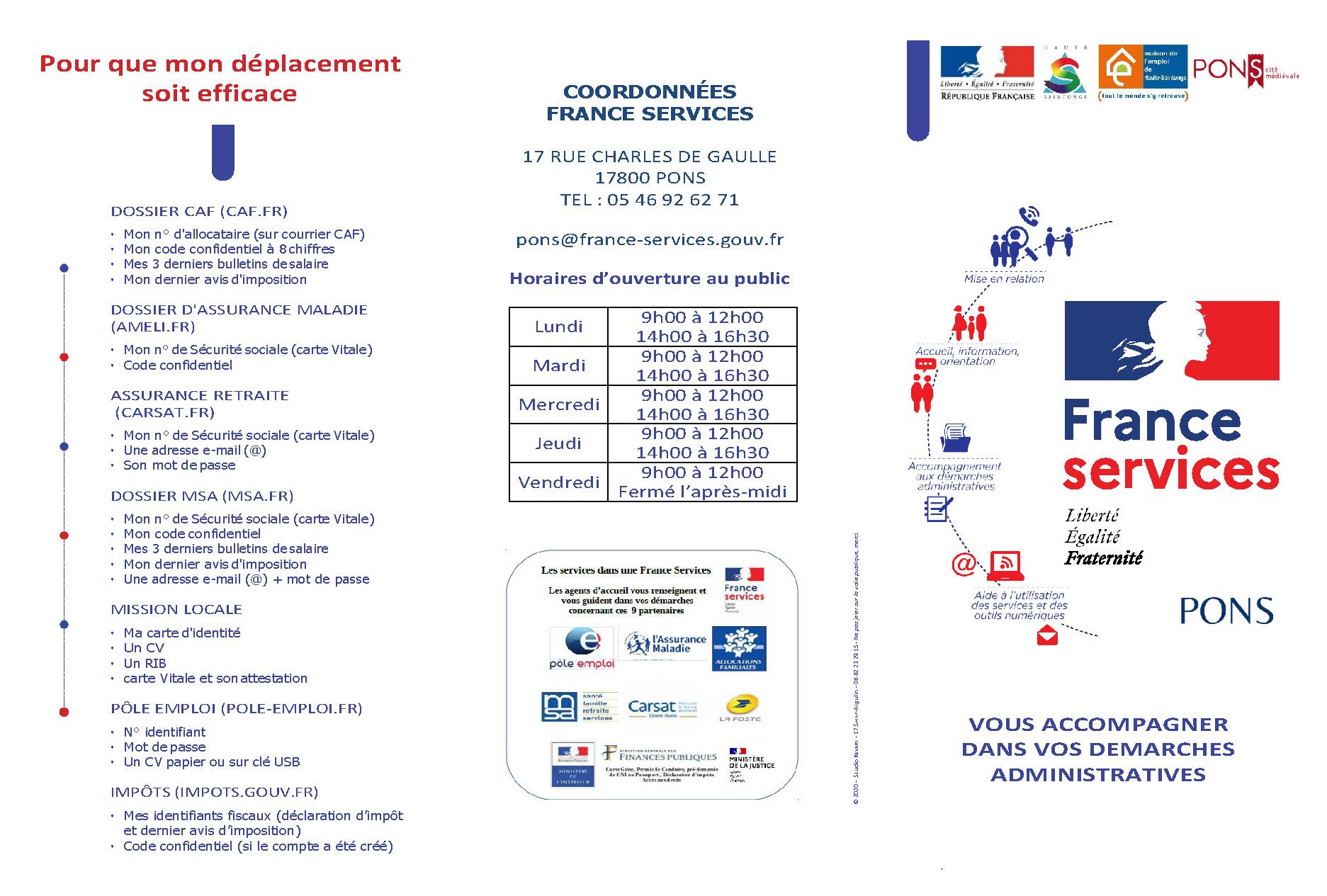Flyer France services Pons 2021